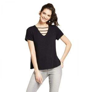 NWT Mossimo Neck Detail Flowy T-Shirt Medium Black